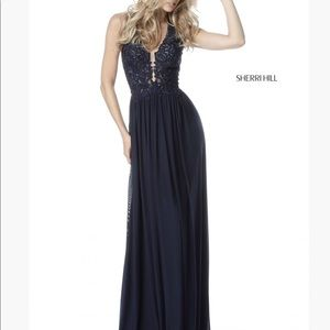 NWT Sherri Hill navy prom dress formal gown 2 new